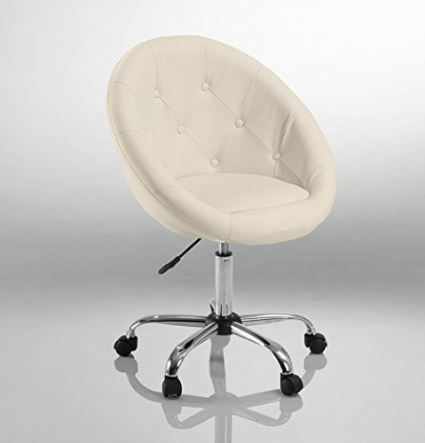 Duhome Home Office Chair Task Computer Chair with Wheels Swivel Height Adjustable Working Stool (White) by Duhome Elegant Lifestyle
