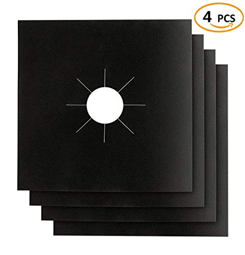 4 Pcs Stove Burner Covers, Black Gas Stove Burner Covers Gas Stove Protectors 0.2mm Double Thickness, Reusable & Dishwasher Safe, Non-Stick, Fast Clean Liners for Kitchen/Cooking (Black, 4PCS)