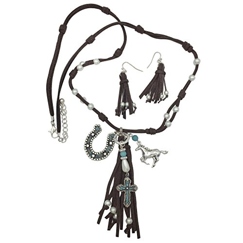 (Long Faux Suede Tassel Fringe Western Style Horse Horseshoe Necklace & Earrings Set (Brown Silver Tone))