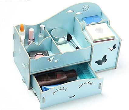 KMZLL Almacenamiento de escritorio madera cajas cosmética joyas accesorio accesorio papel ordenación cajón , 4