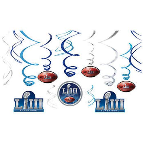 Super Bowl Supplies (Amscan Super Bowl LIII 53 Hanging Swirls - 12 Pack Party Decoration)
