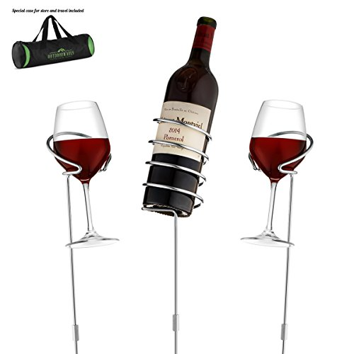 Wine Bottle & Cup Standing Holder Rack | Adjustable Height, Durable Metallic Frame, Sturdy Base & Secure Grip | Holds Bottles Of Wine, Beer,Champagne,Beverages,Glasses& More (3 Pieces Set) Wine Holder Set