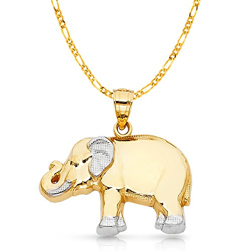 14K Two Tone Gold Elephant Charm Pendant with 3.1mm Figaro 3+1 Chain Necklace - 18