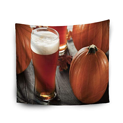 Jacrane Tapestry Wall Hanging with 50x60 Inches Halloween Frothy Orange Pumpkin Ale Ready to Drink Art Tapestries for Bedroom Living Room Home Decor Wall Hanging Tapestries -