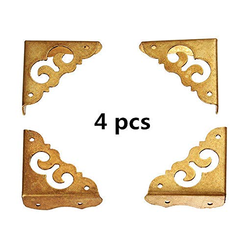 OKIl 4 pcs Antique Side Copper Corners Notebook Angle Protector Wooden Jewelry Gift Box Corners