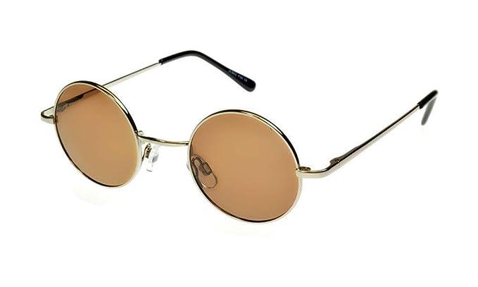 127f6437384 i sunglasses Round John Lennon Style Polarised Sunglasses Silver Brown M
