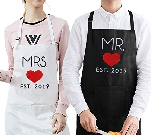 Mr. and Mrs.2019 Embroidered Wedding Gifts for The Couple, Matching Couple Aprons for Bride and Groom, for His and Hers or Newlywed - Full Embroidered Pattern