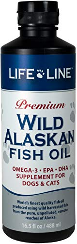 Life Line Pet Nutrition Wild Alaskan Fish Oil Omega-3 Supplement for Skin & Coat - Supports Brain, Eye & Heart Health in Dogs & Cats, 16.5oz