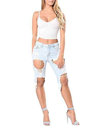 KunLunMen Womens High Waist Denim Shorts Hole Destroyed Ripped (Plus Denim Shorts)