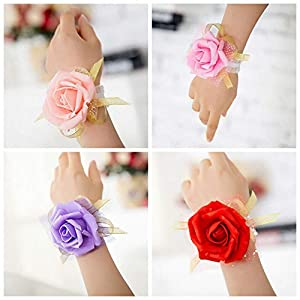 Bridesmaid Wrist Flower - 1pc Wrist Flowers Bridesmaid Silk Rose Corsages Hand Flower Artificial 4 Colors - Daisy English Mixed Easter Cemetery Long Tall Hair Prime Pack Plum Decorations Lings 67
