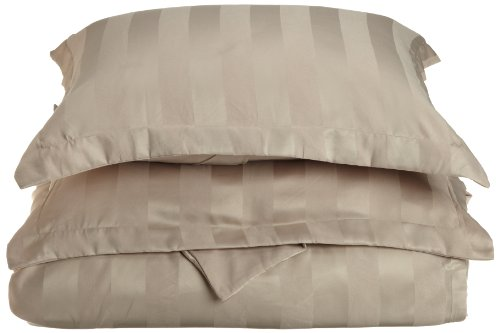Divatex 90 GSM Woven Dobby Stripe Microfiber Duvet Full/Queen Mini Set, Taupe (Stripe Duvet Dobby Set)