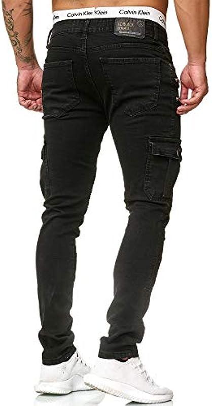 Code47 dżinsy męskie Denim Slim Fit Used Design czarne męskie jeansy jeansowe spodnie chinosy, chinosy, czarne spodnie męskie, kolor: czarny , rozmiar: 38W / 32L: Odzież