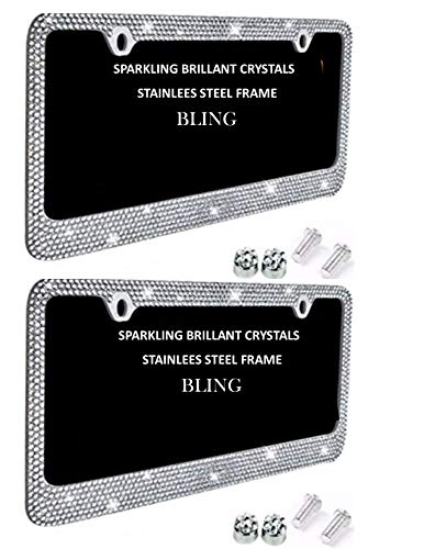- License Plate Frames 2 PACK Glitter White Crystal Rhinestone on Stainless Steel Chrome Plate Holder with Shiny Diamond Bling Front + Rear
