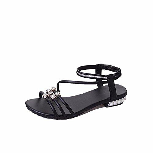 Plano YMFIE y Toe Antideslizante de de Fondo de Sandalias Las Calzado black señoras Playa Cordones Toe Verano de Baja Diamante rSqwxBXS
