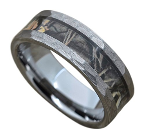 Men's Camo Tungsten Ring With Camouflage Inlay, 8mm Hammered Finish Comfort Fit Wedding Band - Band Wedding Hammered Comfort Fit