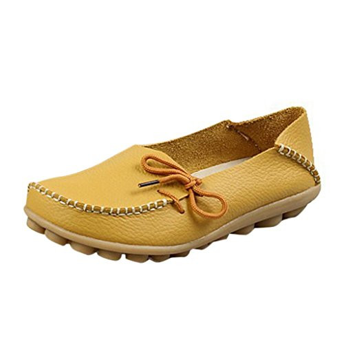 Hee Grand Mujer Leather Lace-up Mocasines Zapatos Bombas Amarillas