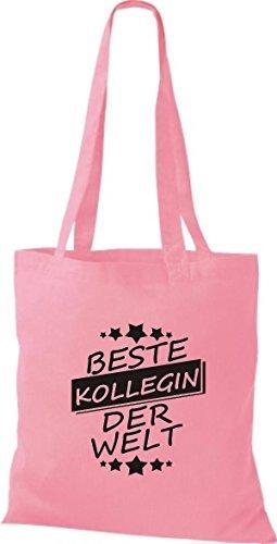 shirtinstyle Bolsa de tela bolsa de algodón MEJOR kollegin MUNDO rosa