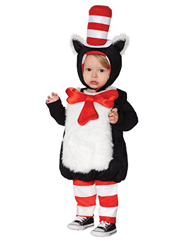 Hat In The Cat Girls Costume (Spirit Halloween Toddler Faux Fur Cat in the Hat Belly Costume - Dr.)