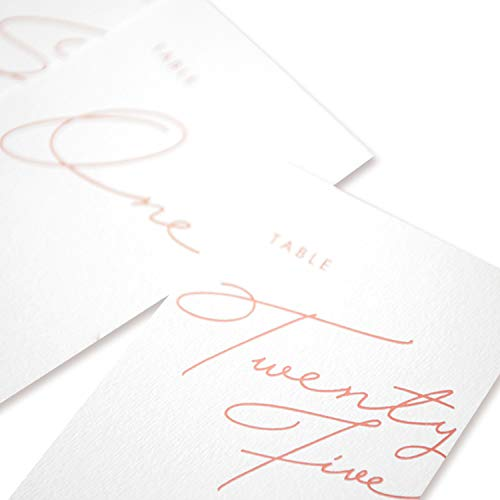 Lings moment White Wedding Table Numbers Rose Gold 4x6 Calligraphy Design, Numbers 1-25 Pack up 25