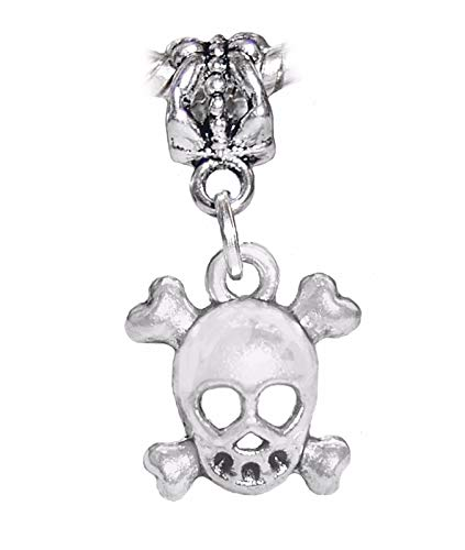Jewelry Making Supplies Skull & Crossbones Skeleton Bones Halloween Dangle Charm for European Bracelets Make Personalized Necklaces Bracelets and Other Jewelry -