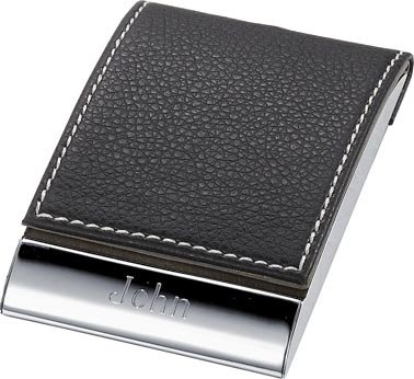 Personalized Sycamore Leather and Stainless Steel Business Card Holder