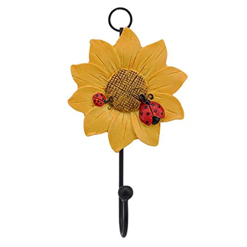 millet16zjh Creative Household Ladybug Flower Resin Keys Coat Hat Wall Hook Home Decoration ,Resin Art Decorations, Cute Micro-Landscape Decoration, Suitable As a Gift-Yellow (Ladybug Resin Earrings)