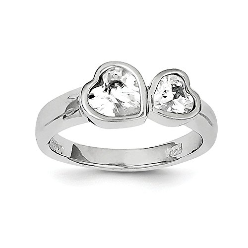 (Sterling Silver Rhodium-plated CZ Double Heart Ring)