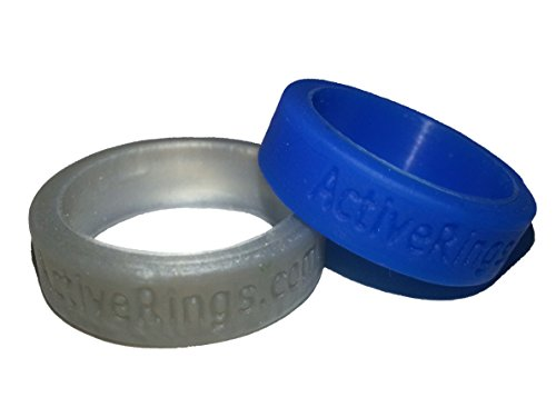 Active Rings (silver and blue, fits U.S. sizes 5 - 6 1/2)