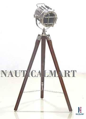 Nautical Designer Spot Light with Wooden Tripod Floor Lamp By Nauticalmart