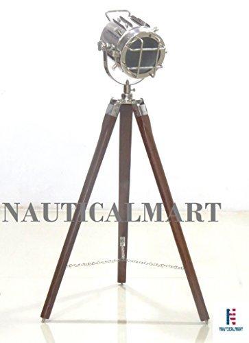 Nautical Designer Spot Light with Wooden Tripod Floor Lamp By Nauticalmart by NAUTICALMART
