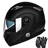 Motorcycle Bluetooth Helmets, FreedConn Flip up Dual Visors Full Face Helmet Built-in Integrated Intercom Communication System(Range 500M,2-3Riders Pairing,FM radio,Waterproof) (Matte Black, M)
