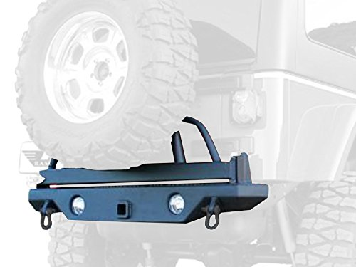 Away Swing Tire System - RAMPAGE PRODUCTS 76610 Semi-Gloss Black Rear Recovery Bumper with Swing Away Tire Mount for 1987-2006 Jeep Wrangler YJ & TJ