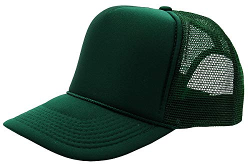 - Quality Merchandise QML Trucker Cap Mesh Hat with Solid, Two Tone Colors and Adjustable Snapback Strap and Small Braid (Solid, Hunter Green)