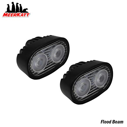 Meerkatt (Pack of 2) 4 Inch Cool White Flood LED 60 Degree Work Lights Fog Off-road Exterior Outdoor Lamp Replacement Truck Jeep RV Pickup UTV SUV Boat 4WD Trailer Universal 10-30V DC Waterproof 20w - Oval Fog Light Kit
