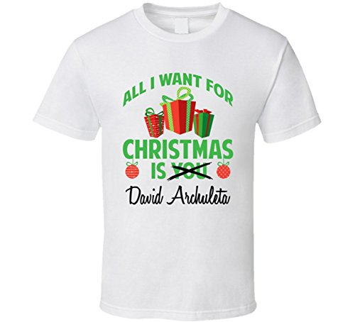 Archuleta T-shirt (All I Want for Christmas is You David Archuleta Funny Xmas Gift T Shirt L White)