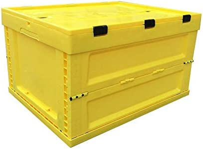 Caja De Plástico Plegable Y Apilable. 52L De Almacenamiento P Bins - Durable De Plástico Plegable Utilidad