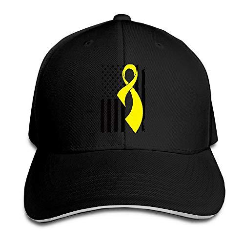 Unisex Sarcoma Bone Cancer Awareness Flag Trucker Cap Adjustable Peaked Sandwich ()