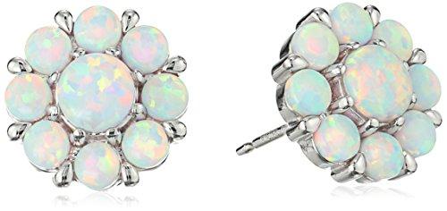 Sterling Silver Created Opal Flower Stud Earrings (Created Silver Opal Flower Ring)