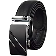 QISHI YUHUA Men's Leather Ratchet Dress Belt with Automatic Buckle