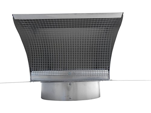 4 Inch Roof Vent Hood Cap Galvanized Damper & Screen - Vent Works by Vent Works (Image #5)