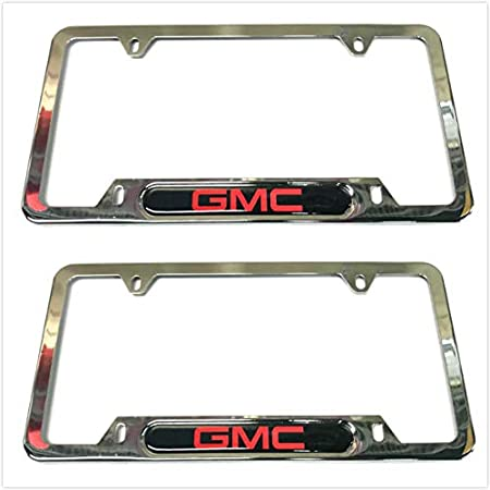 2 Silver Auteal Car Stainless Steel Metal License Plate Tag Frame Cover Holders w//Caps Screws for GMC