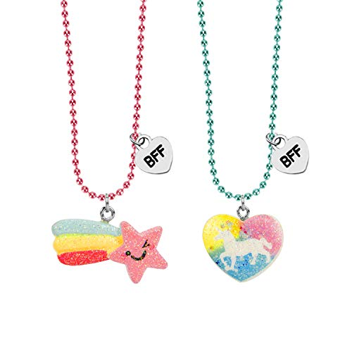 SkyWiseWin BFF Necklace for Girls, This Best Friend Necklace Heart Unicorn and Rainbow is Children's Pack of 2