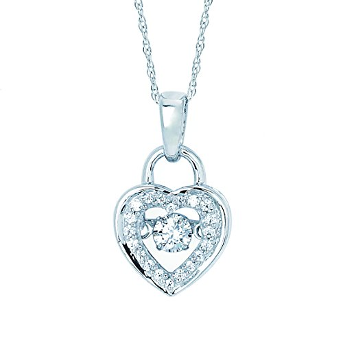 14K White Gold Dancing Diamond Heart Lock Pendant Necklac, 18