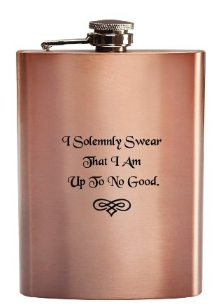 I Solemnly Swear That I Am Up To No Good Harry Potter Style Funny Unique Deluxe Copper Coated Stainless Steel 8 oz Hip Flask