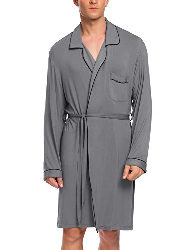Untlet Mens Big and Tall Bathrobes Long Sleeve Lounge Robe (Grey, Medium) (Bath Heights Light)