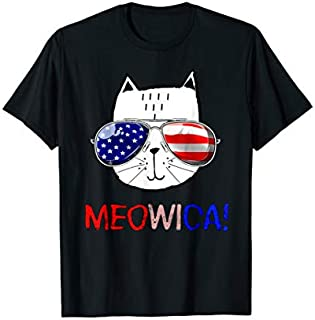 Cat 4th of July s Meowica Merica Men USA American Flag T-shirt | Size S - 5XL
