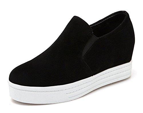 Sneakers Noir Rond Bout Mode Aisun Femme Basse aqOfng