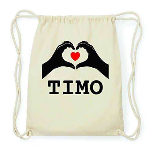 JOllify TIMO Hipster Turnbeutel Tasche Rucksack aus Baumwolle - Farbe: natur Design: Hände Herz