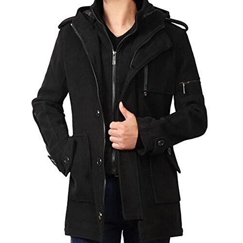 iPretty Men Winter Classic Warm Wool Coats Trench Jacket with Hood;Black;XL (Jackets Trench Coat Men)