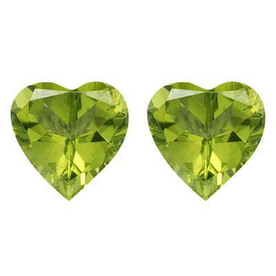 2.65-3.25 Cts of 8 mm AAA Heart Chinese Peridot ( 2 pcs ) Loose Gemstones by Mysticdrop (Image #2)